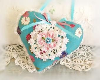 Heart Ornament 5.5 inch Door Hanger Heart  Ruffled Heart, Teal with Pink Accents , Folk Art, Handmade CharlotteStyle Decorative Folk Art