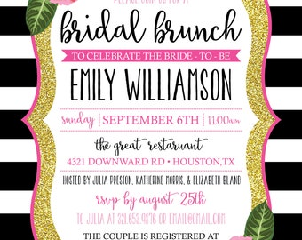 Black, Pink and Gold Bridal Shower or Bridal Brunch Invitation - Custom Colors - Digital Invitation - Print From Home