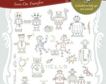 Robots Embroidery Transfer Pattern Robots Invade Robot Invasion Stitcher's Revolution