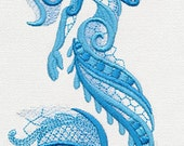 Lacey Mermaid Embroidered Flour Sack Hand/Dish Towel