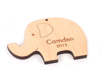 personalized elephant wooden ornament - baby's first Christmas keepsake, cute stocking stuffer for boys or girls