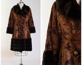 70s Vintage Faux Fur Coat • Dreams of Yesteryear • Chocolate Brown Vintage 1970s Jacket with Faux Mink Trim Size Medium