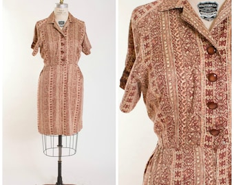Vintage 1950s Dress • Gather From Me • Abstract Print Cotton 50s Vintage Shirtwaist Dress Plus Size