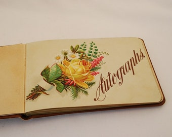 Antique Late 1800's Victorian Autograph Album - 60 Page Album - Partially Inscribed 1897 - 1903 with 20 Autographs - 40 Blank Pages