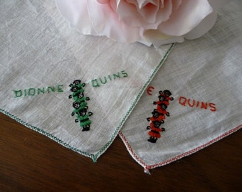 Dionne Quintuplets Hand Embroidered Small Handkerchiefs 2 Dionne Quin5 Hankies
