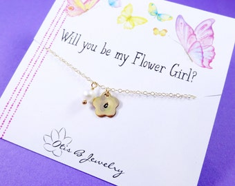 Personalized flower girl or Junior bridesmaid necklace with message card, flower girl gift, custom initial and birthstone, childs necklace