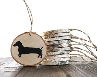 Dachshund Ornament — birch wood slice