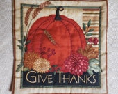 Primitive Thanksgiving Pumpkin Quilt Wall Hanging Candle Mat Autumn Decor