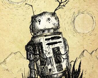 Bad Motivator- A3 Star Wars-inspired robot art print by Jon Turner- droid R5D4