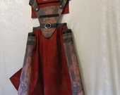 On Sale - Steampunk Victorian Renaissance Apron Dress With Detach. Bib/Collar: All Cotton, Teen's Size 14, Ready To Ship Now