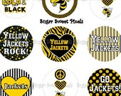 INSTANT DOWNLOAD Yellow Jackets School Mascot 1 inch Circle Bottlecap Images 4x6 sheet