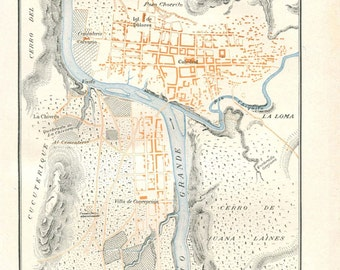Tegucigalpa Honduras Vintage City Map Street Plan 1920s