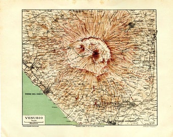 1920s  Vintage Map of Mount Vesuvius and its Crater in the Gulf of Naples, Italy,  Volcano, Wall Hanging Retro Home Decor