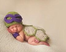 Super Cute Donatello Baby Ninja Turtle Costume for photo prop | Ninja Baby | USA MADE
