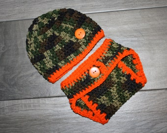 USA Made Camouflage and Orange Baby Diaper Cover and Baby Hat Set