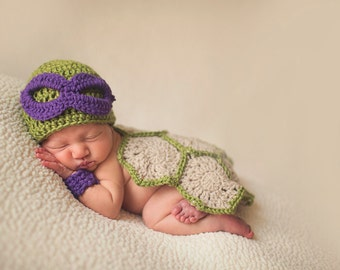 Super Cute Donatello Baby Ninja Turtle Costume for photo prop | Ninja Baby | USA MADE