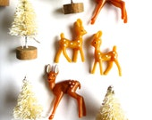 Tiny Plastic Deer-Lot of 3-Very Small Retro Forest Deer-Holiday Crafting-Christmas Terrariums-Ornaments-Putz Village-Snowglobe-Polka Dots