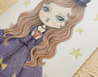 ON SALE 50% Discount, Steampunk Inspired original Pencil Drawing, Cute Kawaii Blythe Doll Art, OOAK Vintage Victorian Style Art