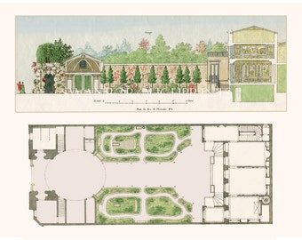 French Garden Plans With House. Garden House Art Print From Paris 1809  Original Watercolor.