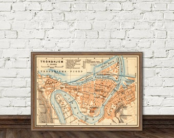 Trondheim map - Trondhjem map - Archival map reproduction - 11 x 16""