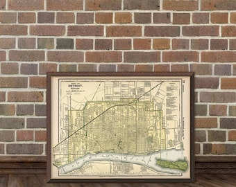 Map of Detroit -  Old city map print -  Vintage map of Detroit - giclee print
