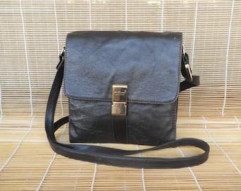 Vintage Small Size Black Brown Faux Leather Shoulder Strap Bag