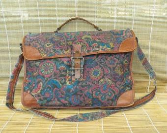 Vintage Floral Canvas Textile Shoulder Strap Bag Messenger Purse Bag