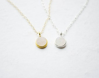 Tiny Druzy Necklace | White Rainbow Druzy | Dainty Silver or Gold Necklace | Minimalist Jewelry | Drusy Charm | Everyday Gifts for Her