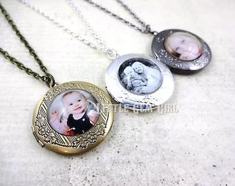 Personalized Photo Locket Necklace - Customized with your Photo - Bronze, Silver or Gunmetal Locket Charm - Round Custom Photo Locket