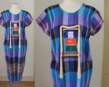1970's Plaid Festival Dress /Folded Arm DRESS / South American Frock  / Vintage Women's Clothing