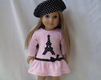 18 Inch Doll-American Girl drop waist ruffle dress: Eiffel Tower Paris dress with beret for Grace