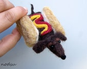 Hot dog wiener dog needle felted dachshund funny puppy sausage dog doxie white elephant gift  MADE TO ORDER