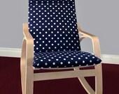 IKEA POÄNG Cushion Slipcover - Navy White Polka Dot