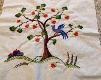 Bird on tree Crewel embroidery  picture 1970s