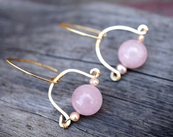 Minimalist Rose Quartz Gold Hammered Wire Drop Earrings