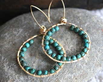 Turquoise and Gold Wire Wrapped Earrings - Bohemian Style - Green Turquoise Earrings - Hammered Gold Hoops