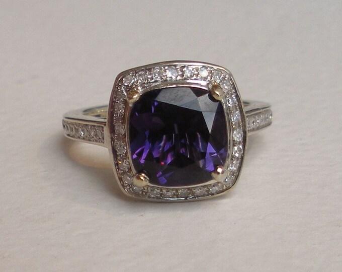 Featured listing image: Diamond Amethyst Engagement Ring 14k White Gold Halo Set