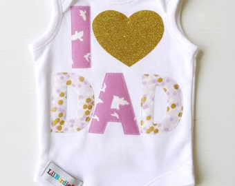 Fathers Day Baby Girl Outfit Onesie Bodysuit I 'heart' Dad Baby New Dad Gift Pretty in Pink