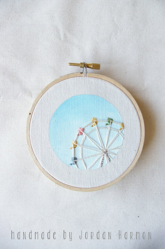 Ferris Wheel embroidery art, hoop art, kids room, nursery artwork, hand embroidered, minimal, simple, santa cruz beach summer