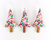 Rustic Modern Christmas Decorations Tree Ornaments in Geometric Print Fabric Red Holiday Decor