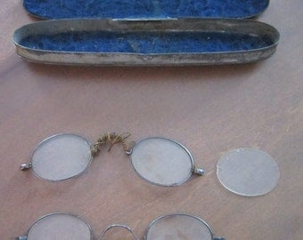 Antique Henry Adams Eye Glasses Pewter framed original metal case