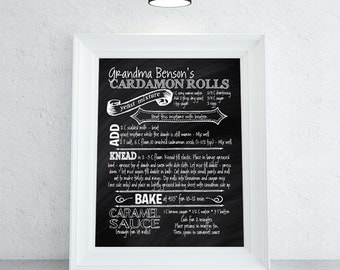 Recipe Chalkboard Print | Custom Recipe Chalkboard Print | Great Wedding Gift | Housewarming