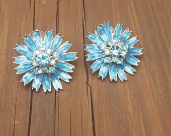 Blue Enamel Earrings, Flower Earrings