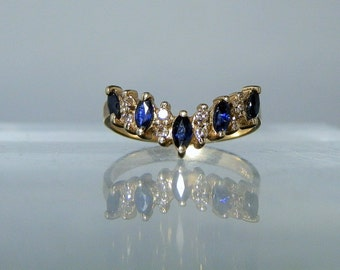 Vintage Ring 14k Yellow Gold Deep Blue Natural Sapphire Accent Diamond Jewelry Size 5.5 Ring Gift Quality DanPickedMinerals
