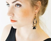 Black Dagger Earrings, Boho Chandeliers, Hippie Earrings, Tribal Earrings, Patterned Rope, Africa Inspired, Ethnic Earrings