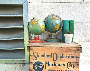 Wood CRATE | Vintage (c.1930's) Wooden Shipping Crate | Antique Packing Box | Standard Duplicating Machines Corporation | Industrial Storage