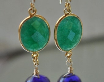 SALE Amethyst and Emerald Earrings - May Birthstone Earrings- February Birthstone Earrings