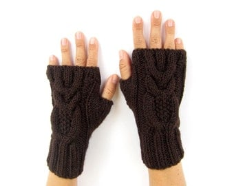 brown arm warmers with owls wrist warmers hand knit mittens fingerless gloves owl wool blend