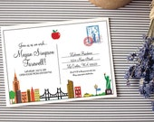 Instant Download - Postcard from New York - Going Away - Birthday/Wedding/Shower Invitation Custom Printable - Free Red and Grey Backside