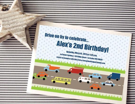 Instant Download - Transportation Invitation - Cars, Trucks, Firetrucks, Buses, Police Car - Custom Printable